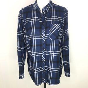 BCBG Generation Blue Plaid Flannel Shirt Sz Small